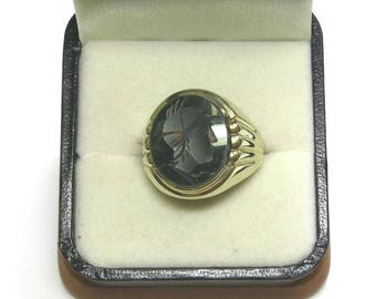 mens bloodstone antique cameo ring in 10k yellow gold size 9 1/2