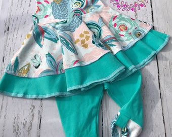 Baby girl spring  outfit , Baby girl summer outfits , baby girl clothes , Baby girl dress top leggings and  headband , girl outfit