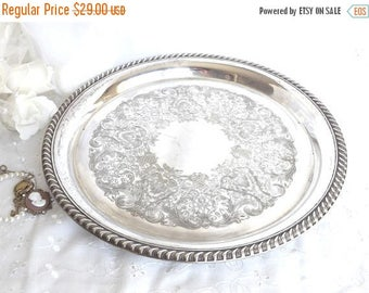 ON SALE Silver Plated Vanity Tray, Serving Tray, Home Decor, French Farmhouse, Cottage Chic, Tray Wall Decor, Shabby Chic Boudoir