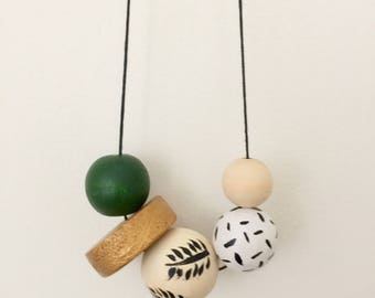 Wooden bead necklace // Jungalow Collection ~ Greens // hand painted wooden necklace