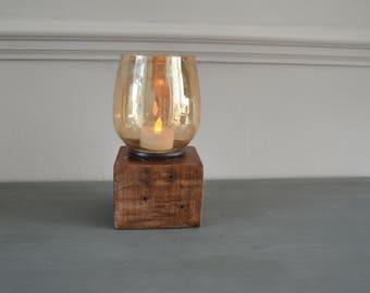 Short Pallet Pillar Block Candle Holder, Tealight Candle Holders, Wooden Candle Holders, Rustic Candle Holder
