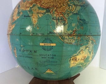 "Rare Vintage Estate Weber Costello 16"" Basic Educator World Globe Benefic Press Z-8"