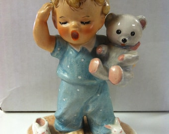 "Vintage Estate 1950's W. Goebel West Germany Sleepyhead Baby Boy with Teddy Bear Charlot Byj 11 5.5"" Figurine"