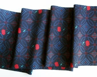 Japanese Vintage Wool Kimono Textile  / Fabric Ikat Kasuri 絣 Mid Century Mod Style Cherry Pattern by the yard