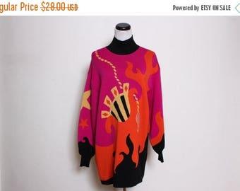 30% OFF VTG 80s Laurel Escada Flame Star Fire Pink Novelty Sweater L/Xl