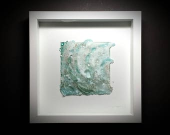 Undersea Rivers ~ Abstract Ocean Glass Art Wall Sculpture Contemporary Beach Coasta Fused Sea Glass Framed Fine Art May Waynorth