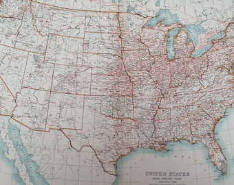 Principal gift vintage etsy uk 1898 united states railroads extra large original antique a c black map showing the principal gumiabroncs Images