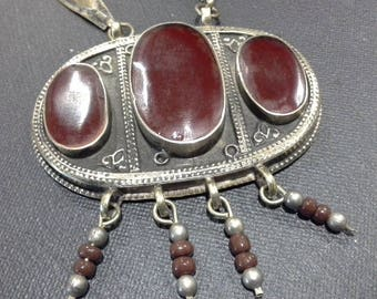 Vintage Antique Ethnic Turkoman Silver Gold Wash & Carnelian  Long Necklace