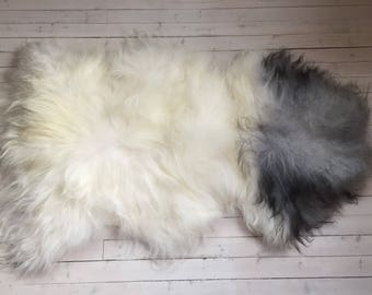 White grey long haired large sheepskin rug spael sheep skin throw 17230
