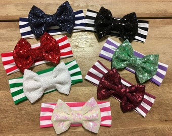 Striped Bow Collection with Sequin Bow