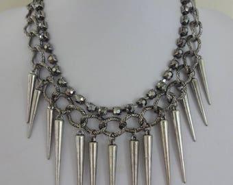 Vintage Chain Link Necklace, Tassel Necklace, Punk Necklace, Punk Rock Necklace, Modernist Necklace, Drop Spear Necklace