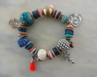 Hamsa Hand Bracelet, Hamsa Charm Bracelet, Boho Bracelet, Bead Bracelet, Festival Bracelet