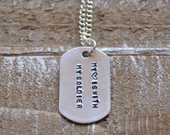 Dog tag necklace, army girlfriend, stamped necklace, mens necklace, dog tags personalized, army wife, custom necklace, dog tag, military