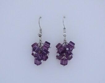 Purple mini cube earrings