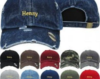 Henny  Dad Hat Distressed Baseball Cap  Free 1 Location Text