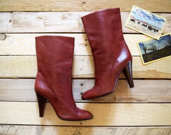Vintage Women's Size 6-6 1/2 Italian Buttery Leather Boots CASADEI Red Brown Burgundy High Heel Designer Italy 1970s