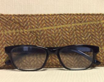 Welsh tweed glasses/spectacles case in tan, gold and yellow