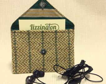 Welsh tweed business card case/headphone case/pouch in yellow with green stripe