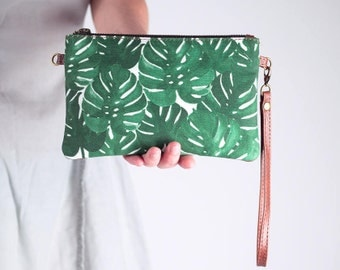 Monstera Clutch with Strap, Minimalistic Wallet, Leaf Print Green Wristlet Purse, Brown Leather and Canvas Zipper Purse, Mini Crossbody Bag
