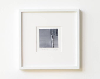 """Small Abstract Painting Modern Oil Canvas Original Wall Art, Contemporary Home Decor, Black and White Colours, Matted Ready to Frame, 4""""x 4"""""""
