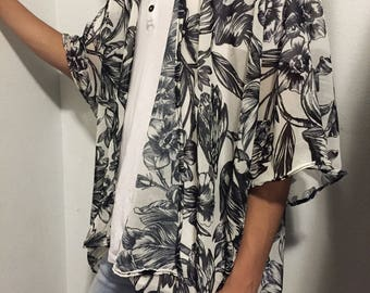 White floral kimono