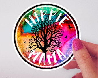 Hippie Mama Car Decal, Hippie Gifts for Women, Hippie Decor, Hippie Bumper Sticker, Vinyl Stickers, Car Accessories for Women, Mom Gifts