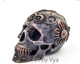Skull Sculpture Skull Day of the dead cold cast iron sculpture human skull skull art art dia de los muertos skulls black skull skull