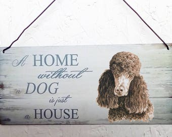 Poodle Metal hanging sign