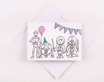 Cute Star Wars Birthday Card / Star Wars Birthday Card / Star Wars Card / Starwars Birthday Card / Birthday Card