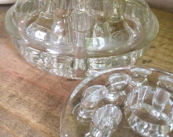 Vintage Glass Flower Frogs -  lot of 2