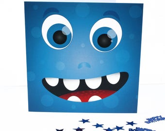 blue monster card, fun monster, cute monster, little monster, kids cards, monster birthday, kids birthday card,  all occasion cards, happy
