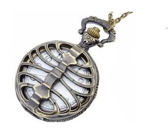 1 side anatomical rib cage skeleton Pocket Watch steampunk clock bronze 25mm