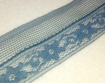 """BLUE LINGERE LACE,2.5yd x 1 3/8"""",Vintage lace, Vintage trim, Vintage edging"""