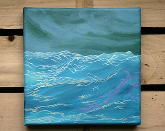 Turbulent Sea / original small format painting
