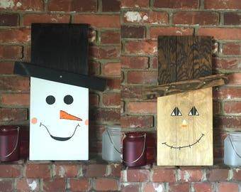 Reversible Scarecrow and Snowman Seasonal Decor Piece