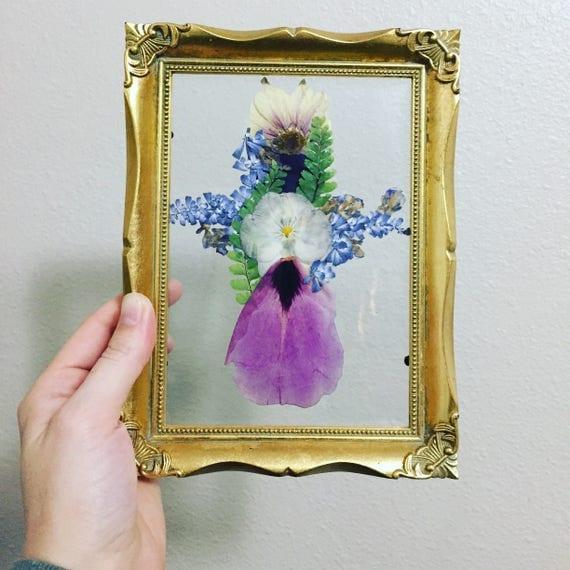 Floating Framed Cross Art- Framed Botanical 5X7- Real Pressed Flower - Purple & Blue- Religious Flower Art- Herbarium Art- Religious Decor