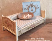 Miniature Bed, Miniature Furniture, French Country Miniatures, Miniature Daybed, Miniature Settee, Children's Bed