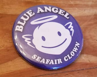 Vintage Seattle Seafair pinback, Blue Angel/Seafair clown 1980's