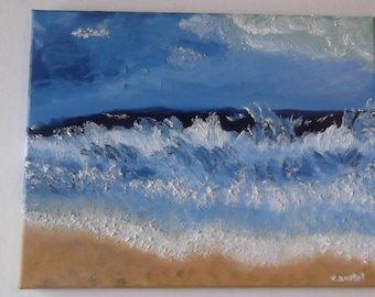 "Original oil on canvas painting ocean waves on beach landscape signed by artist V. Anstey size 11"" X 14"""