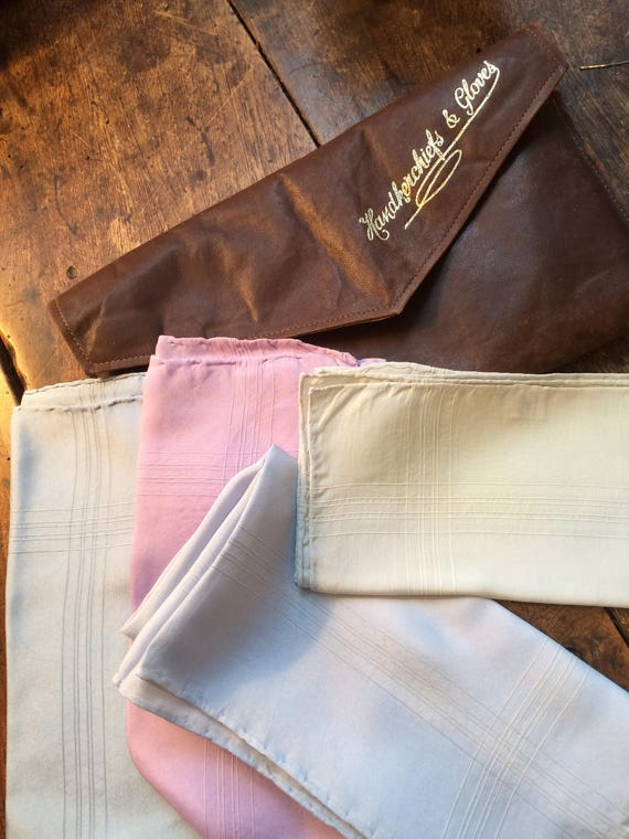1940's leather hankie pouch and 4 men's macclesfield silk 17inch sq hankies.