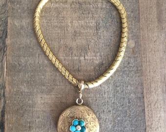 Antique Victorian Gold Bracelet with Turquoise Pendant
