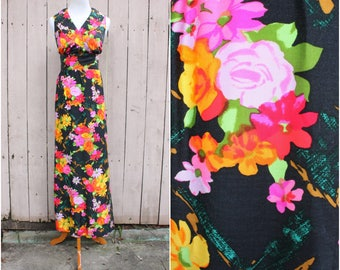 Vintage 60's/70's Black & Multi-Colored Floral Print Maxi Dress, Colorful Dress, Hostess Dress, Size - Medium