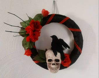 Raven, Skull, and Roses Wreath