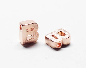 P0721/Anti-Tarnished Rose Gold Plating Over Brass /Brushed Mini Alphabet Charm/5x7.2mm/2pcs