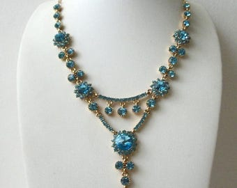 ON SALE Vintage Gold Tone Heavier Sparkling Blue Rhinestones Tiered Necklace 51017
