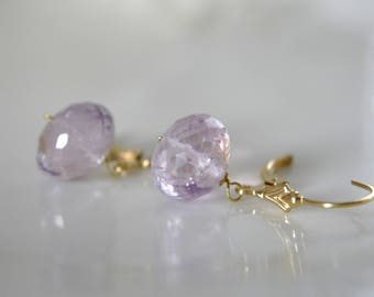 Amethyst Earrings Klappbrisuren Gilded gold filled amethyst micro faceted Rondelle Earrings Leverback Gold Filled
