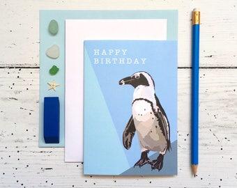 Penguin Birthday Card - Penguin Card - Birthday Card - Penguin Greeting Card - Animal Card - Humboldt Penguin - Penguin - Sea Card