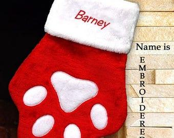 Pet Christmas Stocking, Personalized Pet Name Christmas Stocking, Paw Stocking, Personalized, Embroidered Dog, Cat Pet Stocking
