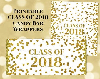 Printable Candy Bar Wrapper Graduation Party Class of 2018 Gold Confetti Digital Download Chocolate Bar Label