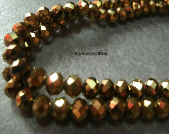 PF614) set of 50 effect Crystal faceted glass beads 6 mm antique gold